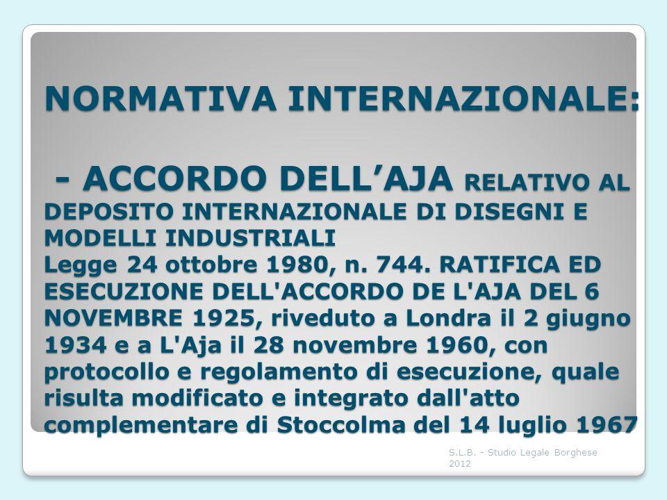NORMATIVA INTERNAZIONALE: - ACCORDO DELL'AJA RELATIVO AL DEPOSITO INTERNAZIONALE DI DISEGNI E MODELLI INDUSTRIALI Legge 24 ottobre 1980, n. 744. RATIFICA ED ESECUZIONE DELL ACCORDO DE L AJA DEL 6 NOVEMBRE 1925, riveduto a Londra il 2 giugno 1934 e a L Aja il 28 novembre 1960, con protocollo e regolamento di esecuzione, quale risulta modificato e integrato dall atto complementare di Stoccolma del 14 luglio 1967