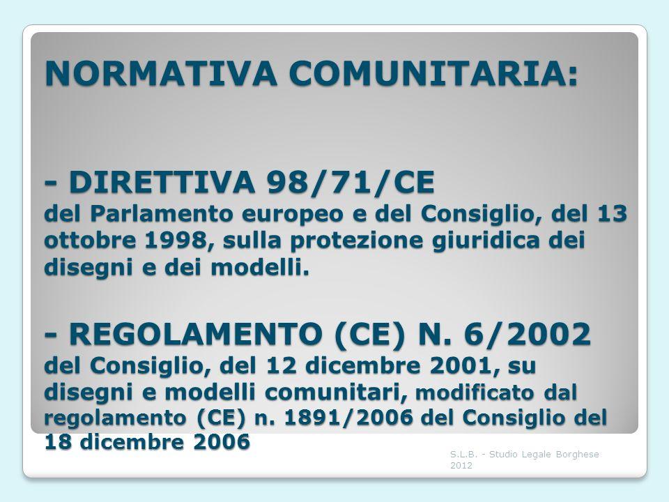 NORMATIVA COMUNITARIA: - DIRETTIVA 98/71/CE del Parlamento europeo e del Consiglio, del 13 ottobre 1998, sulla protezione giuridica dei disegni e dei modelli. - REGOLAMENTO (CE) N. 6/2002 del Consiglio, del 12 dicembre 2001, su disegni e modelli comunitari, modificato dal regolamento (CE) n. 1891/2006 del Consiglio del 18 dicembre 2006