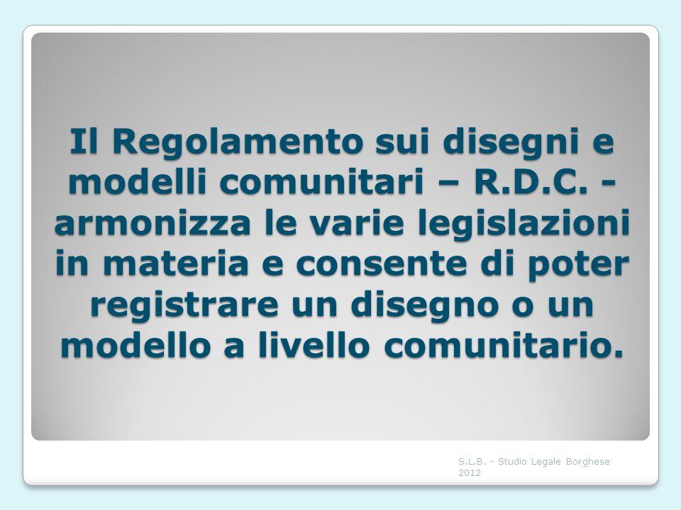 Il Regolamento sui disegni e modelli comunitari – R. D. C