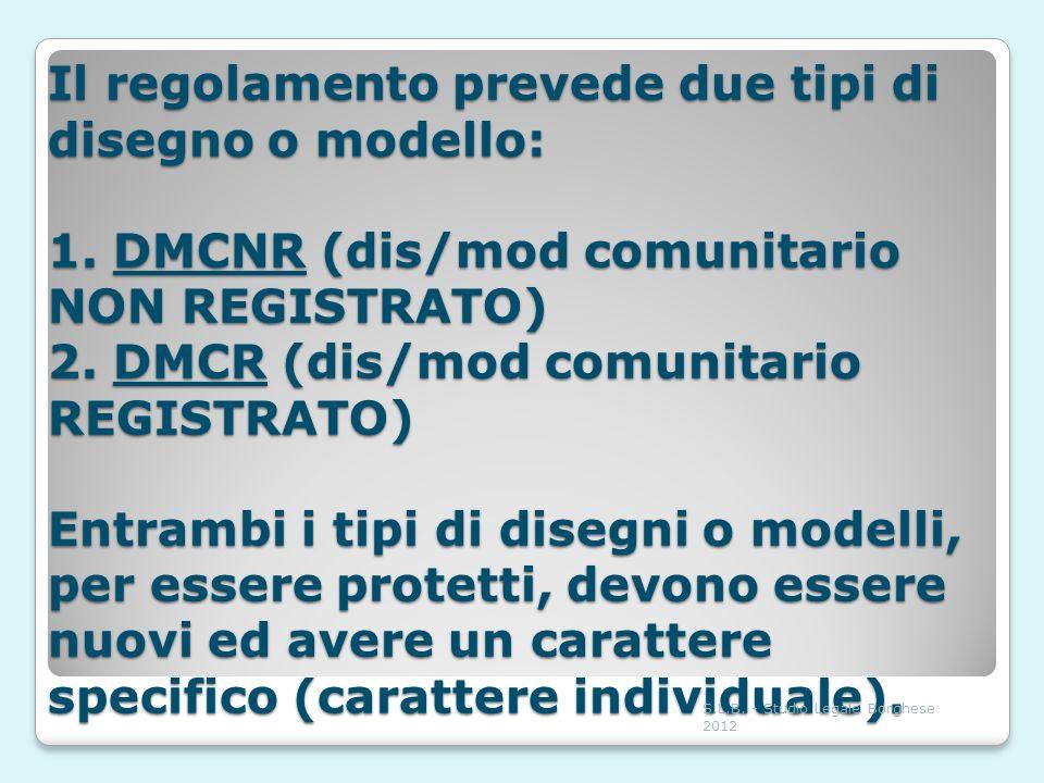 Il regolamento prevede due tipi di disegno o modello: 1