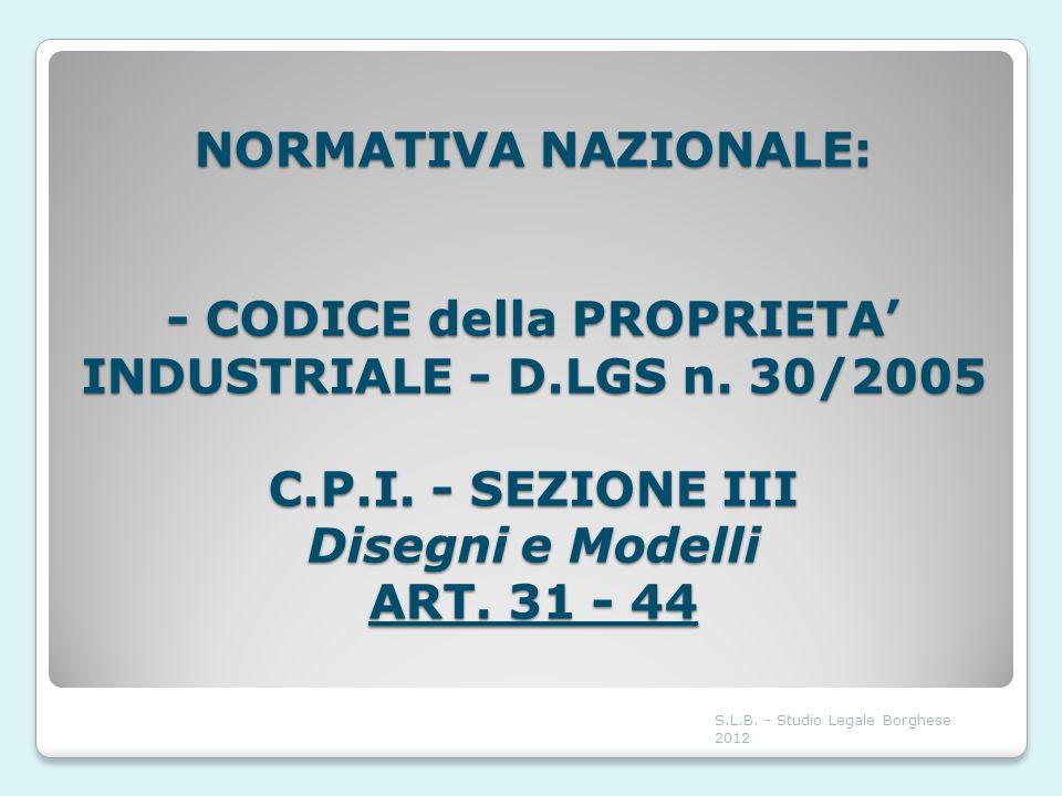 NORMATIVA NAZIONALE: - CODICE della PROPRIETA' INDUSTRIALE - D. LGS n