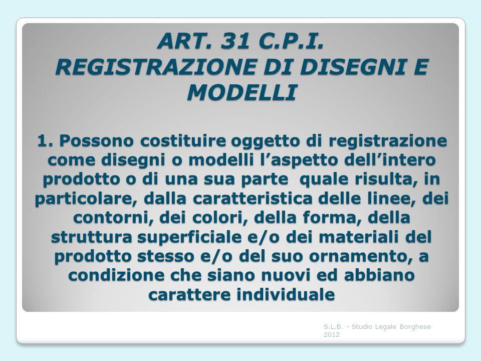 ART. 31 C. P. I. REGISTRAZIONE DI DISEGNI E MODELLI 1