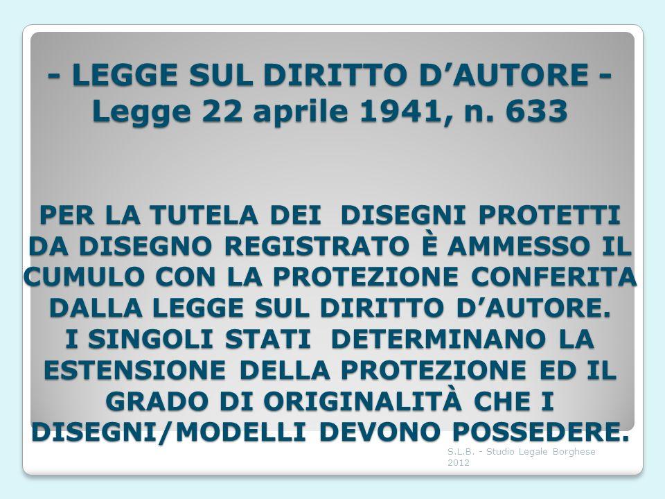 - LEGGE SUL DIRITTO D'AUTORE - Legge 22 aprile 1941, n