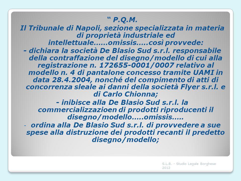 P.Q.M. Il Tribunale di Napoli, sezione specializzata in materia di proprietà industriale ed intellettuale……omissis…..così provvede: