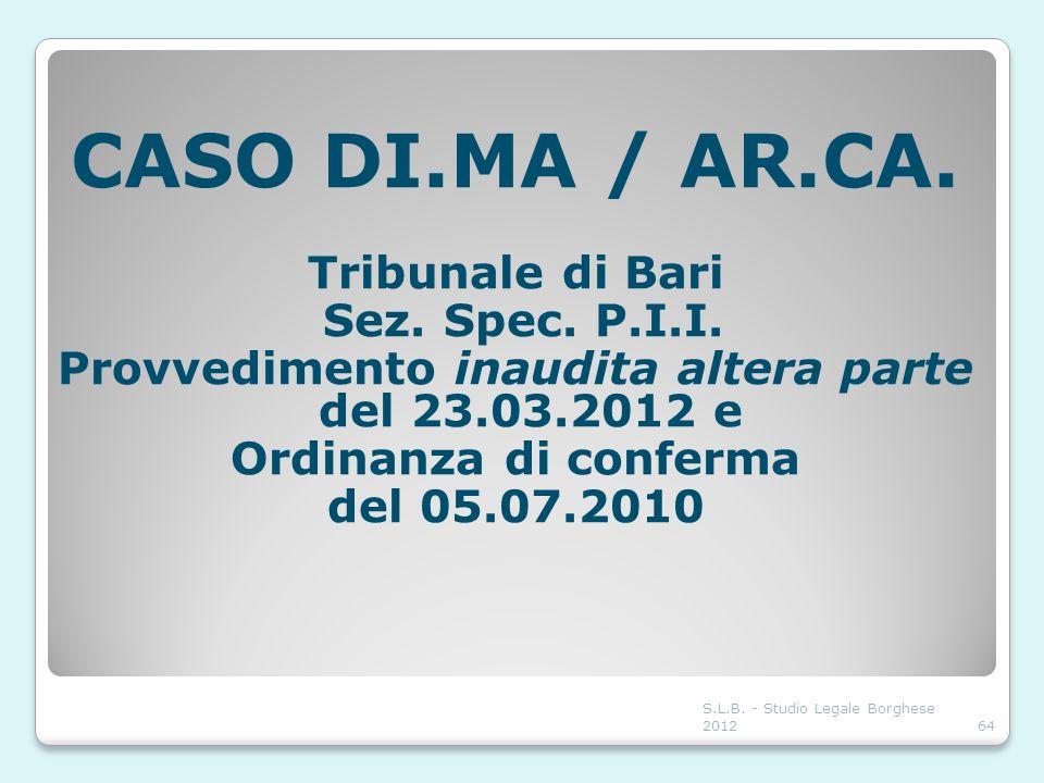 Provvedimento inaudita altera parte del 23.03.2012 e