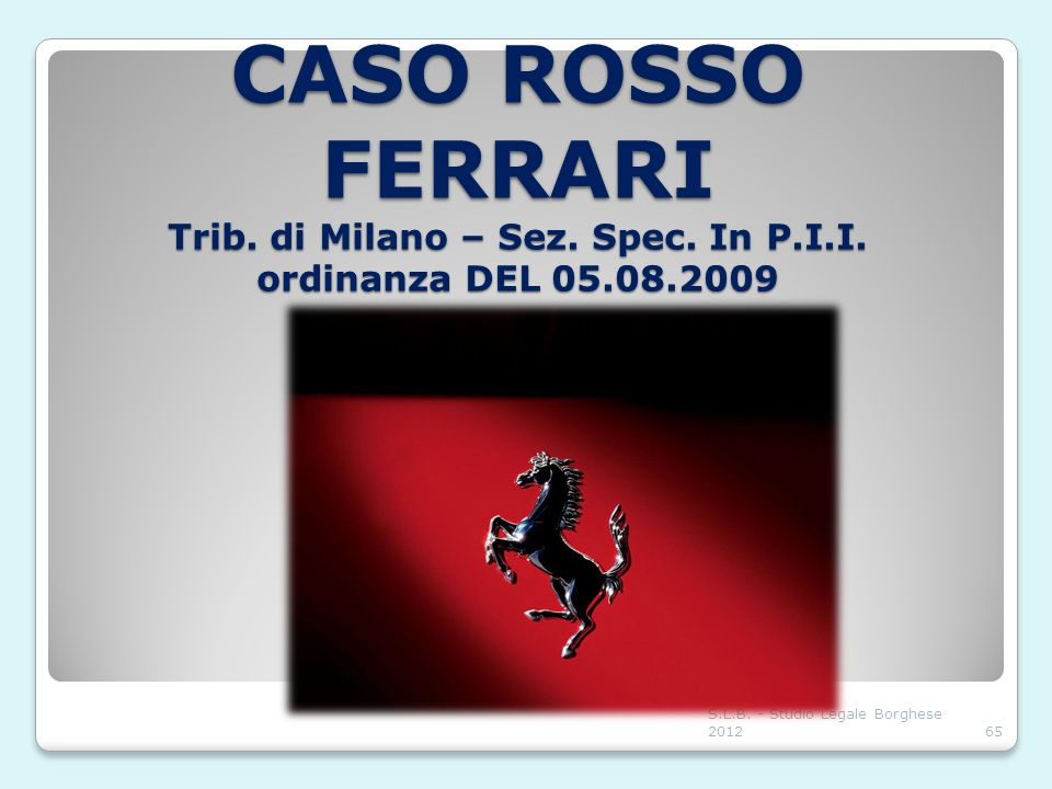 CASO ROSSO FERRARI Trib. di Milano – Sez. Spec. In P. I. I