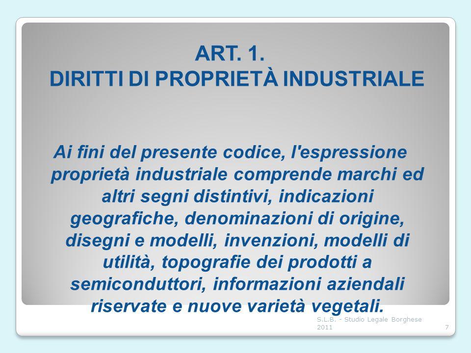 ART. 1. DIRITTI DI PROPRIETÀ INDUSTRIALE