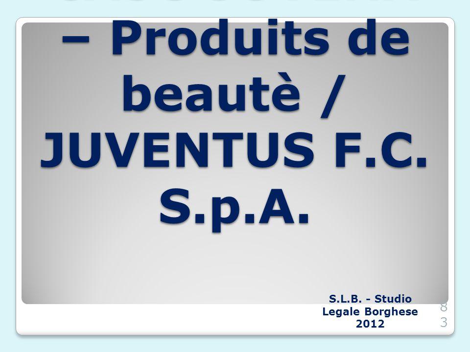 CASO JUVENA – Produits de beautè / JUVENTUS F.C. S.p.A.