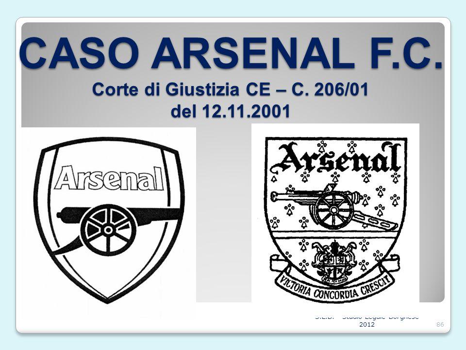 CASO ARSENAL F.C. Corte di Giustizia CE – C. 206/01 del 12.11.2001