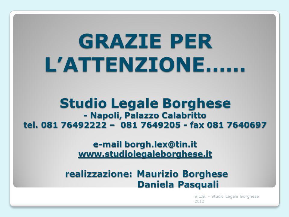 GRAZIE PER L'ATTENZIONE…… Studio Legale Borghese - Napoli, Palazzo Calabritto tel. 081 76492222 – 081 7649205 - fax 081 7640697 e-mail borgh.lex@tin.it www.studiolegaleborghese.it realizzazione: Maurizio Borghese Daniela Pasquali