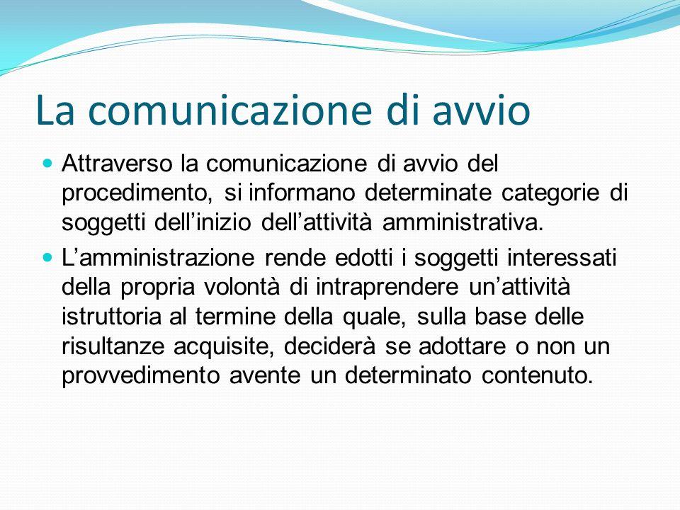 La comunicazione di avvio
