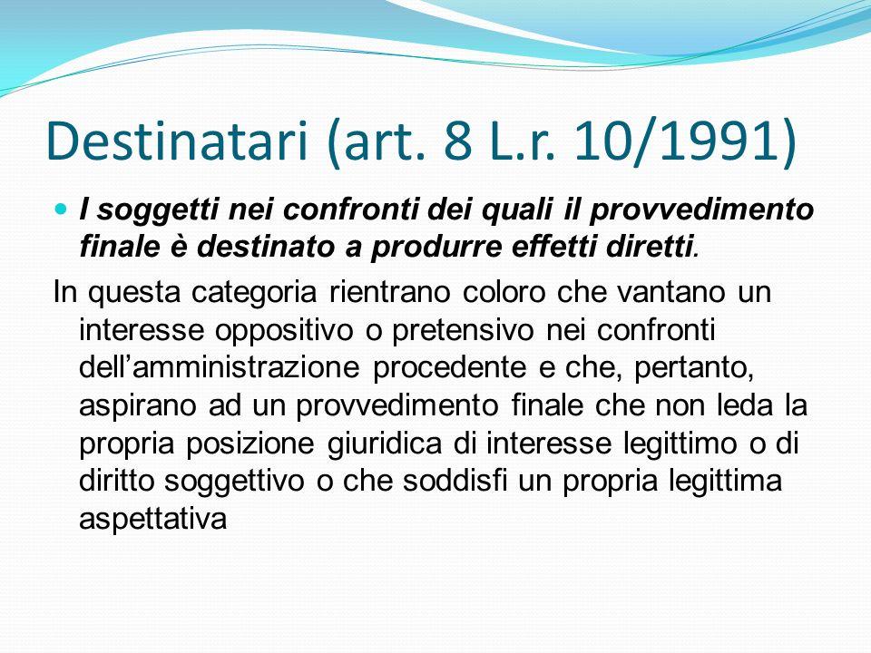 Destinatari (art. 8 L.r. 10/1991) I soggetti nei confronti dei quali il provvedimento finale è destinato a produrre effetti diretti.