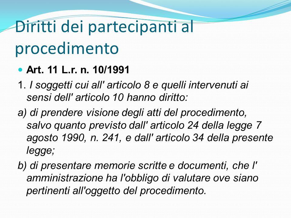 Diritti dei partecipanti al procedimento
