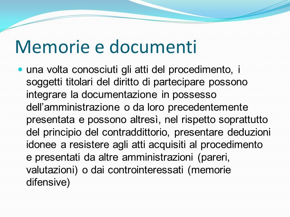 Memorie e documenti