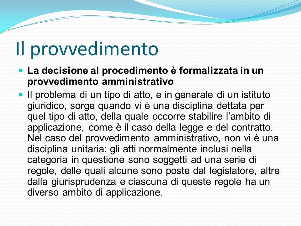 Il provvedimento La decisione al procedimento è formalizzata in un provvedimento amministrativo.