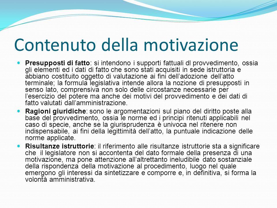Contenuto della motivazione