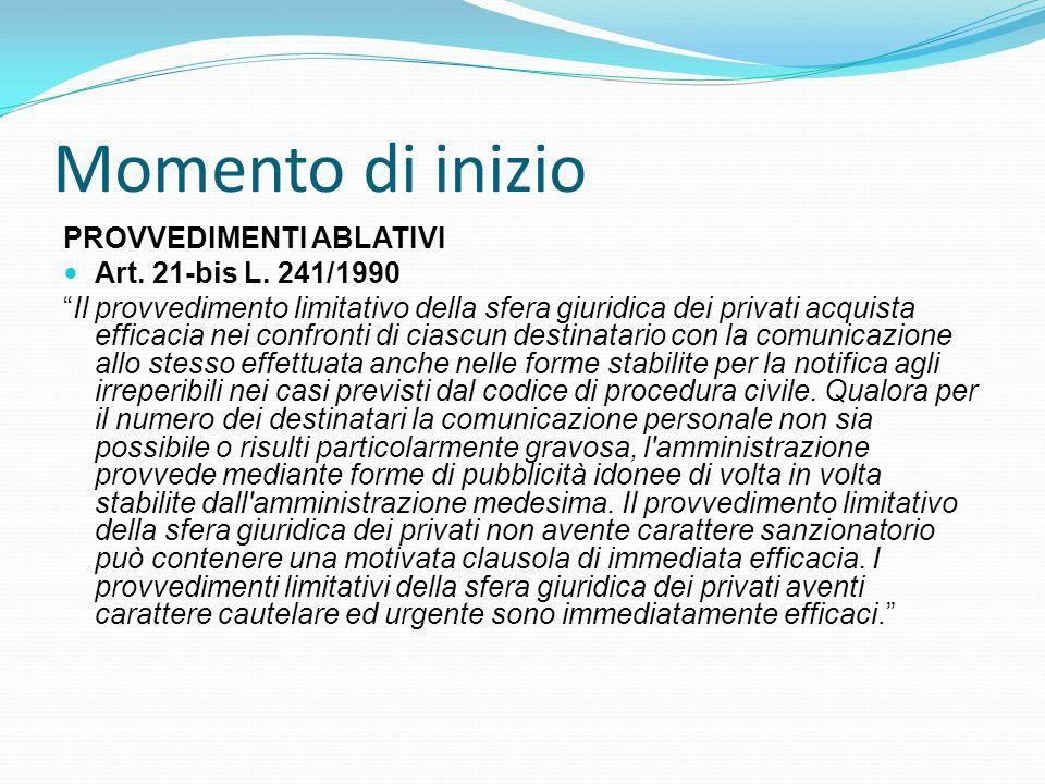 Momento di inizio PROVVEDIMENTI ABLATIVI Art. 21-bis L. 241/1990