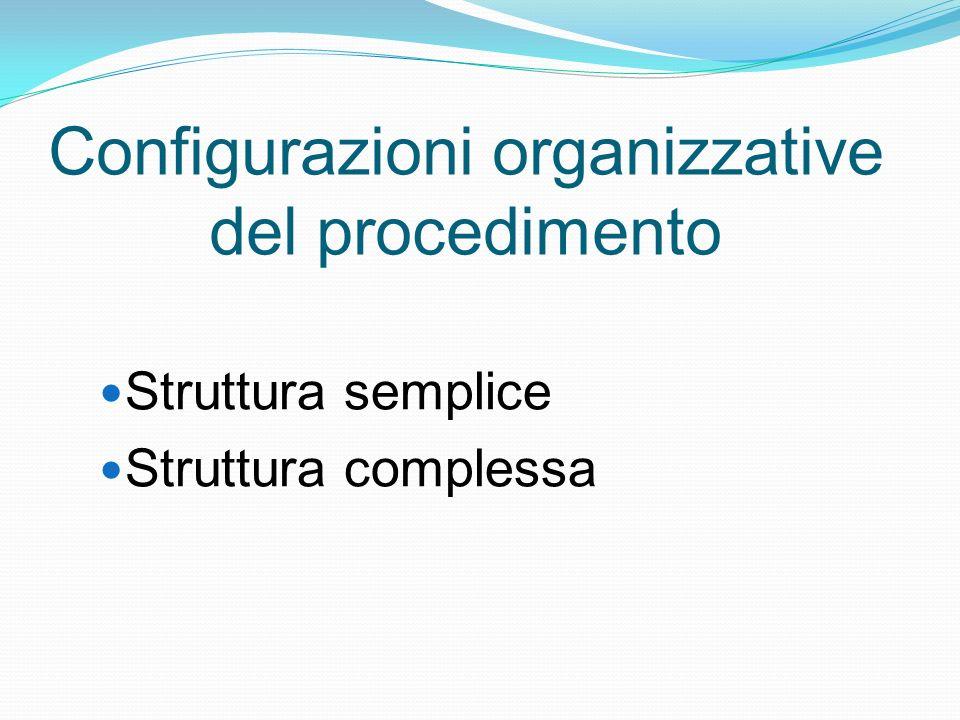 Configurazioni organizzative del procedimento