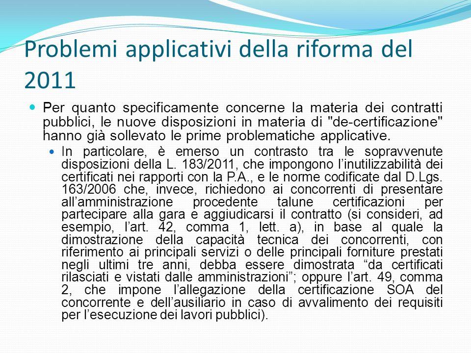 Problemi applicativi della riforma del 2011