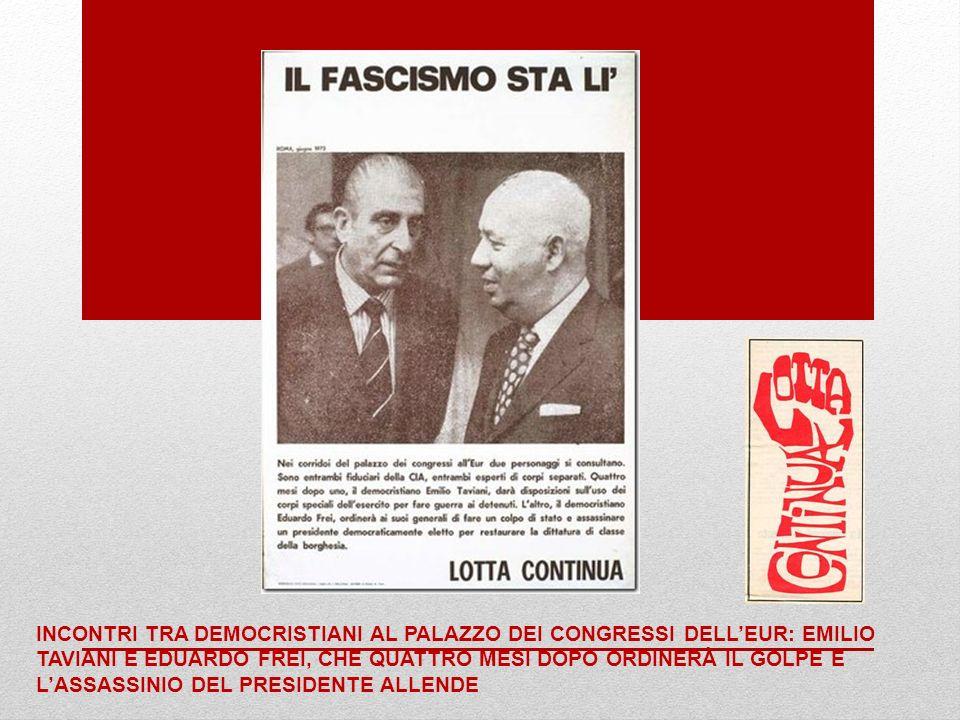 Incontri tra democristiani al palazzo dei congressi dell'EUR: Emilio Taviani e Eduardo Frei, che quattro mesi dopo ordinerà il golpe e l'assassinio del Presidente Allende