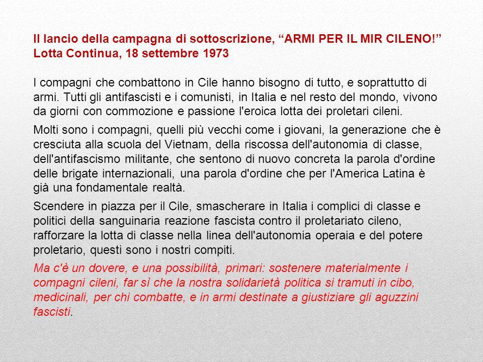 Il lancio della campagna di sottoscrizione, ARMI PER IL MIR CILENO!