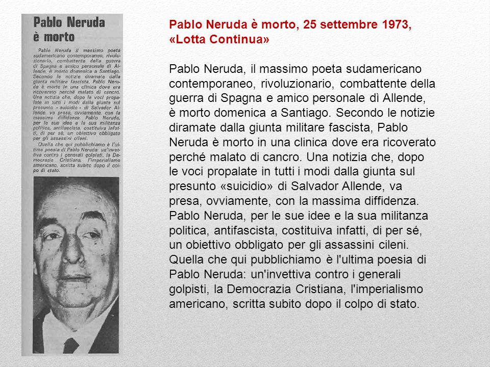 Pablo Neruda è morto, 25 settembre 1973, «Lotta Continua»