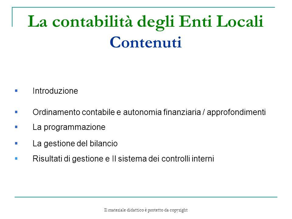 La contabilità degli Enti Locali Contenuti