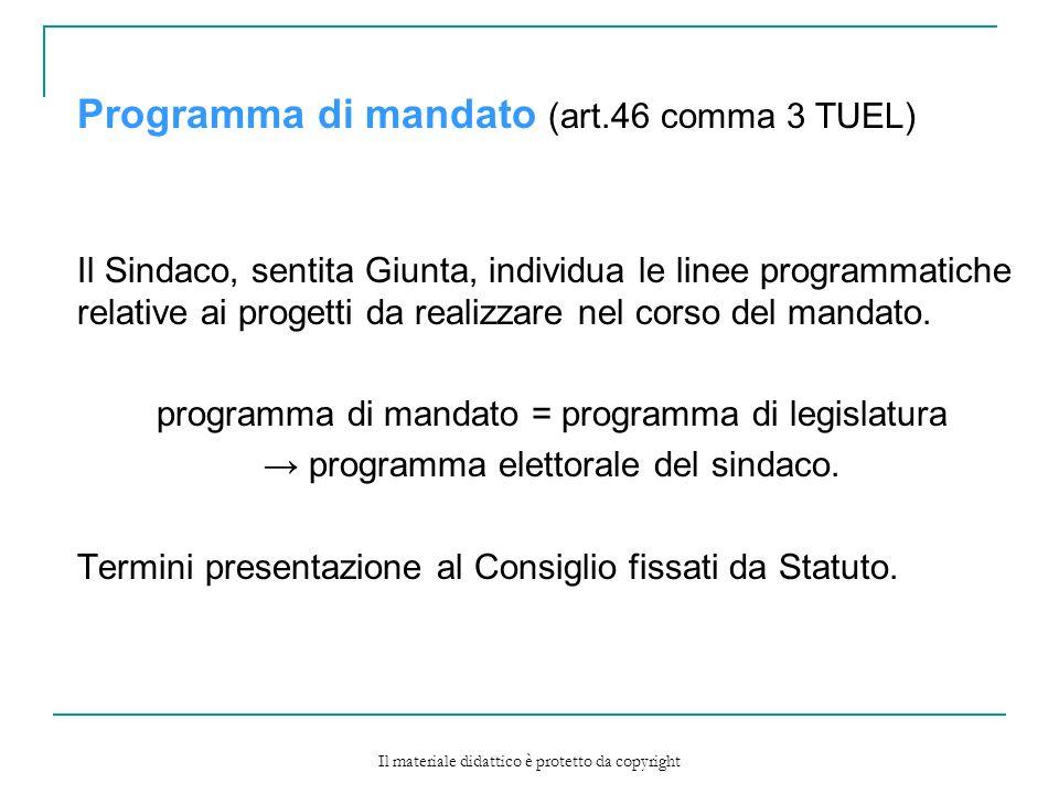 Programma di mandato (art.46 comma 3 TUEL)