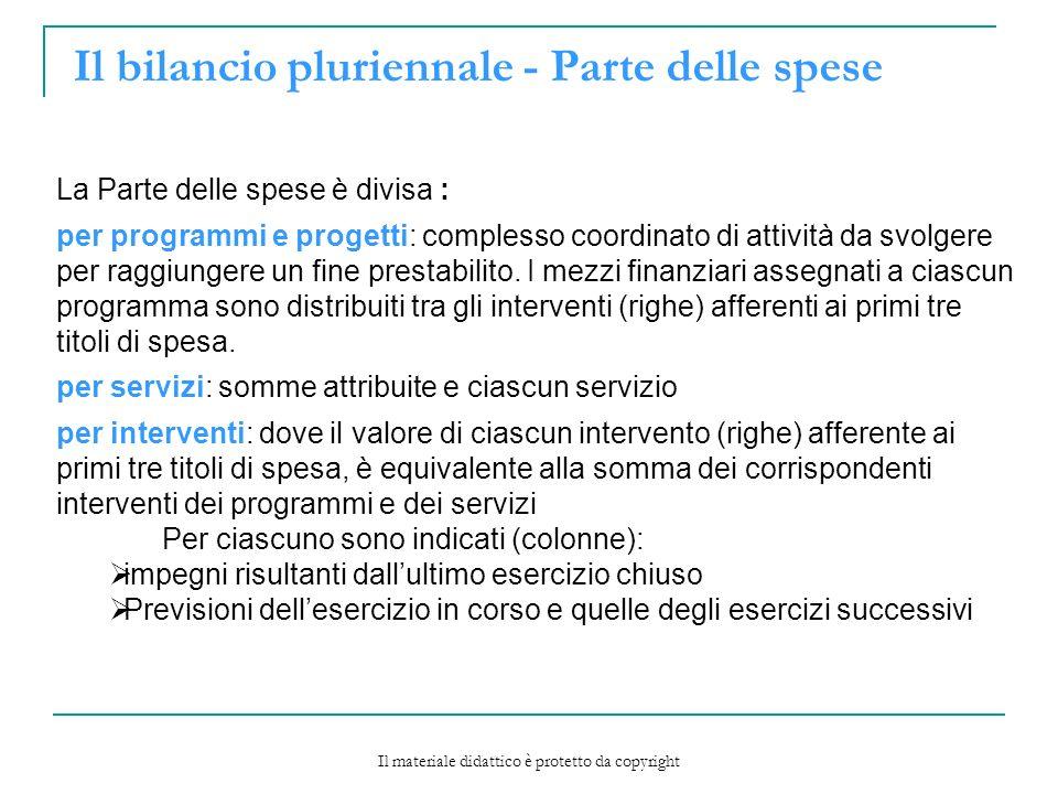 Il bilancio pluriennale - Parte delle spese