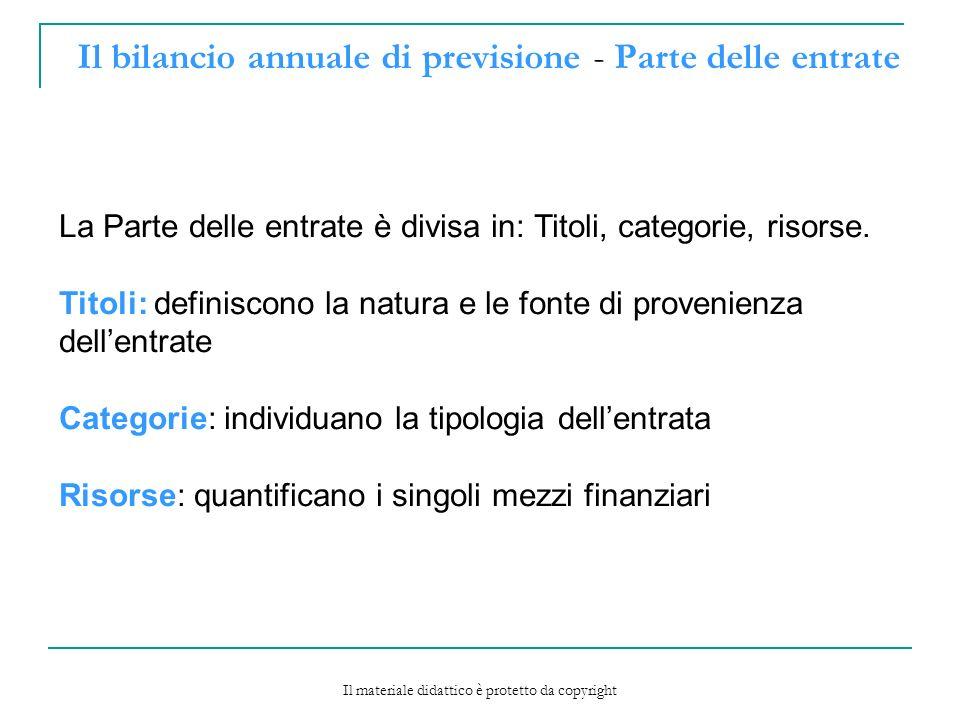 Il bilancio annuale di previsione - Parte delle entrate