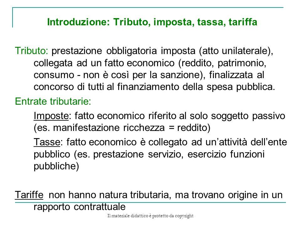 Introduzione: Tributo, imposta, tassa, tariffa