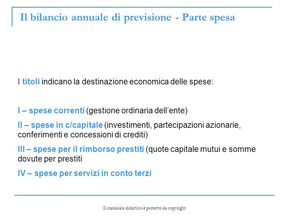 Il bilancio annuale di previsione - Parte spesa