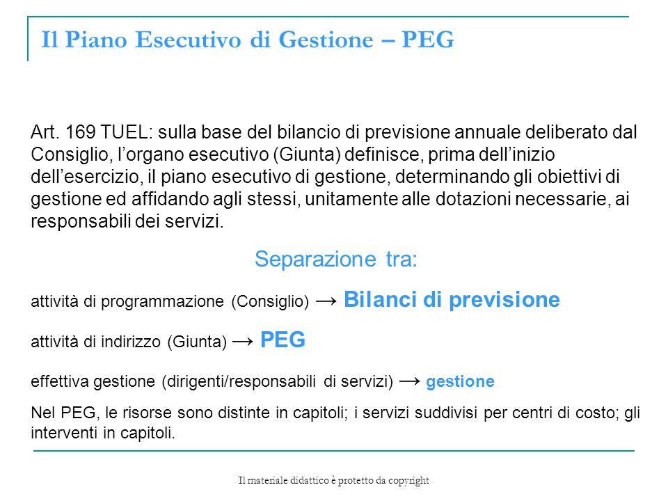 Il Piano Esecutivo di Gestione – PEG