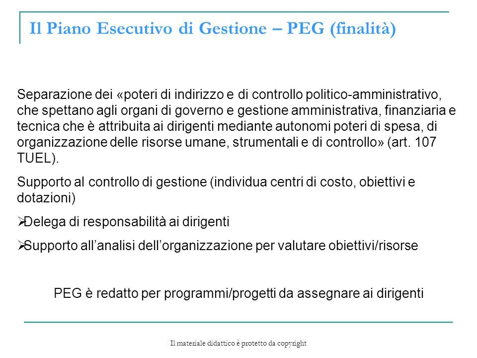 Il Piano Esecutivo di Gestione – PEG (finalità)