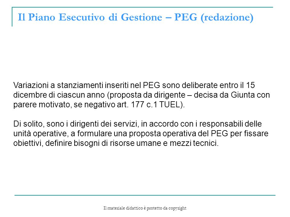 Il Piano Esecutivo di Gestione – PEG (redazione)