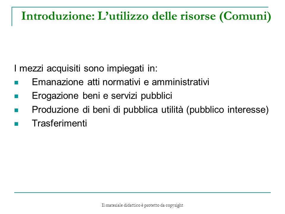 Introduzione: L'utilizzo delle risorse (Comuni)