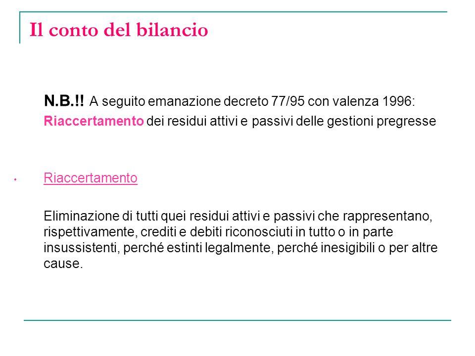 Il conto del bilancio N.B.!! A seguito emanazione decreto 77/95 con valenza 1996: