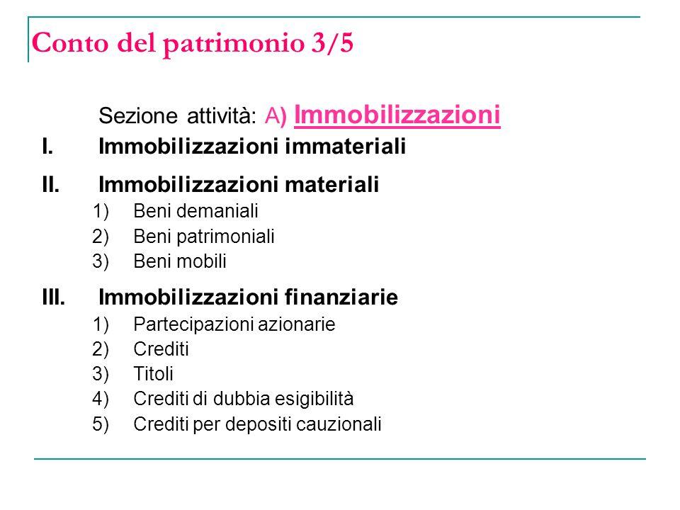 Conto del patrimonio 3/5 Sezione attività: A) Immobilizzazioni