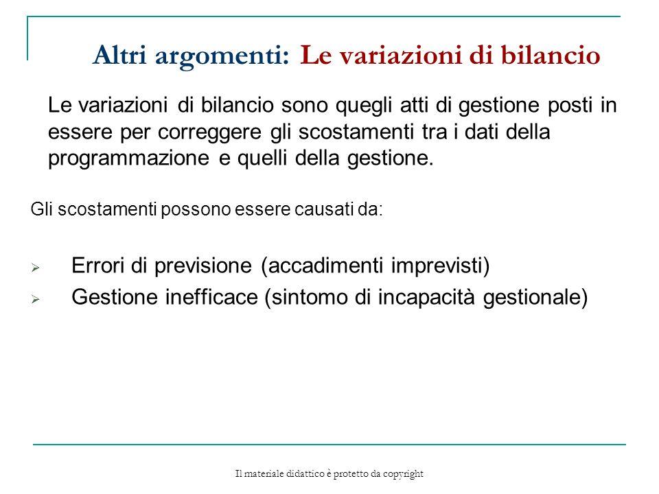 Altri argomenti: Le variazioni di bilancio