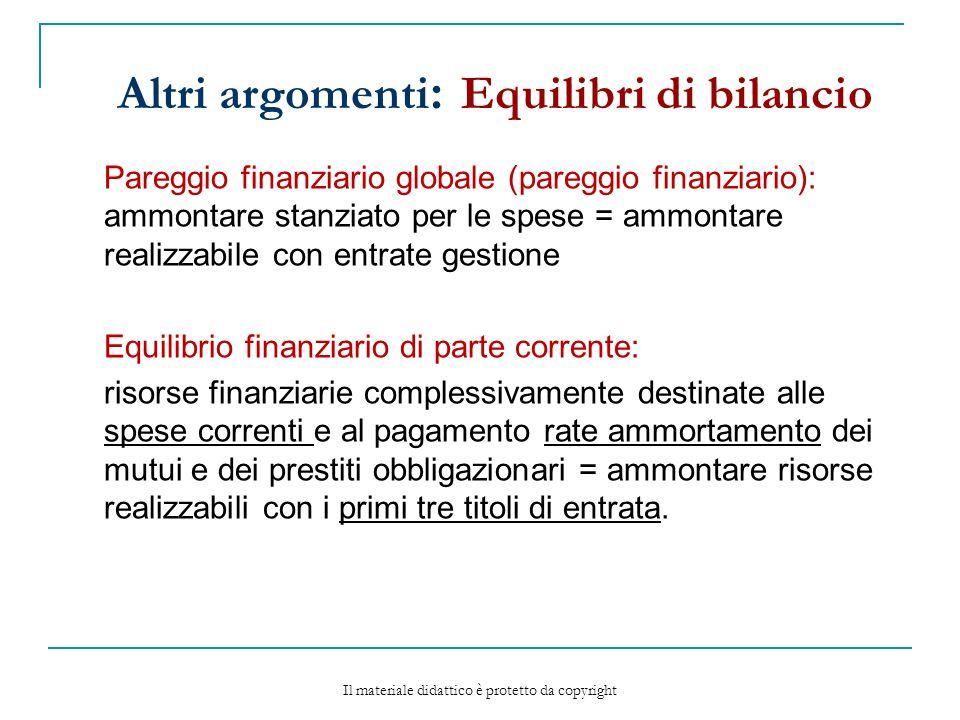 Altri argomenti: Equilibri di bilancio