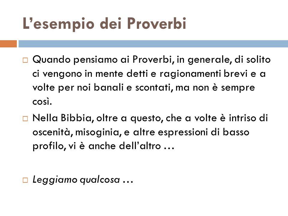 L'esempio dei Proverbi