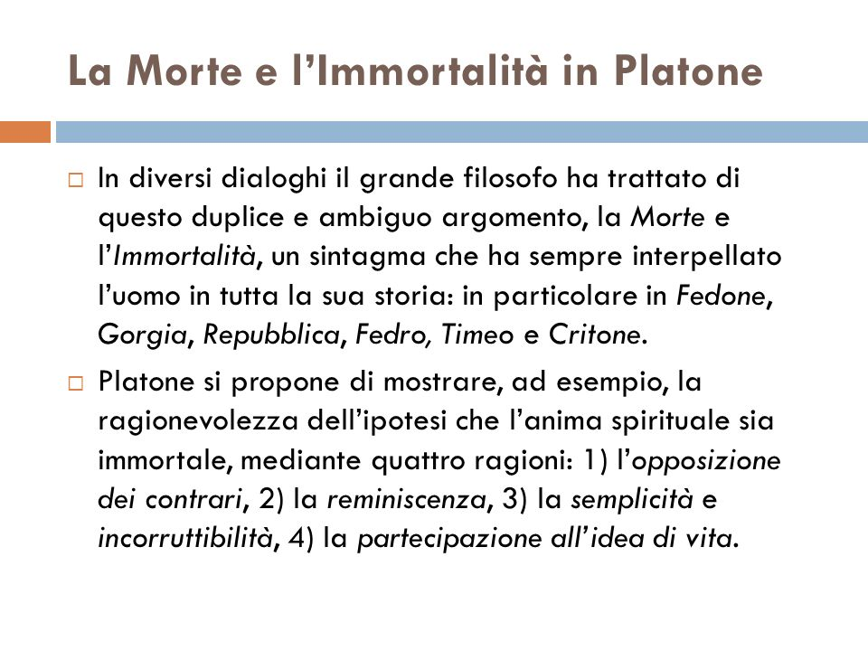 La Morte e l'Immortalità in Platone