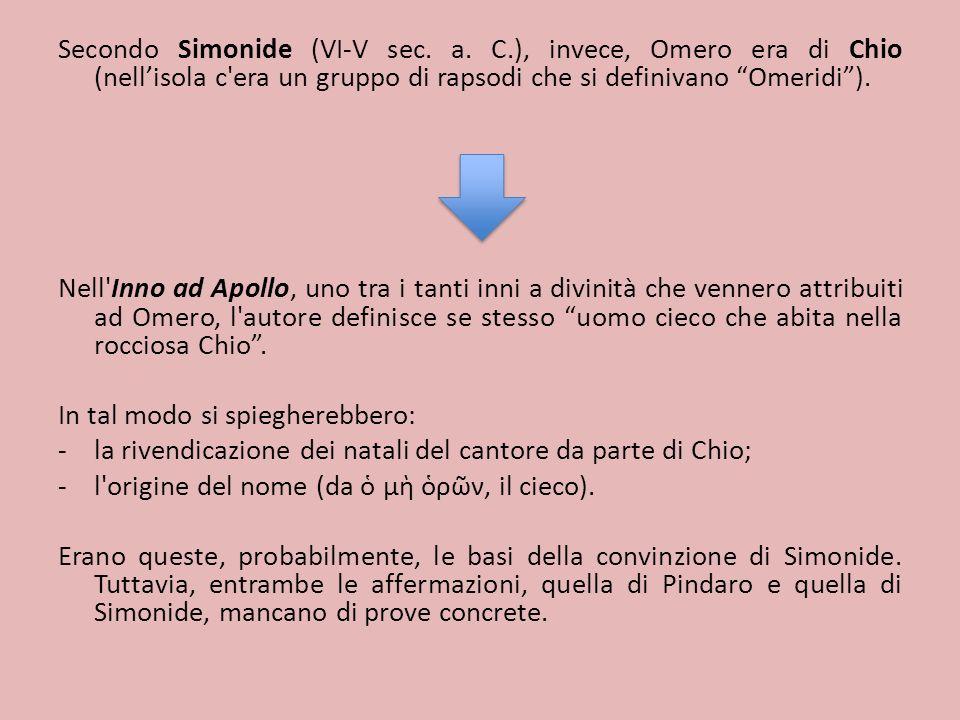 Secondo Simonide (VI-V sec. a. C