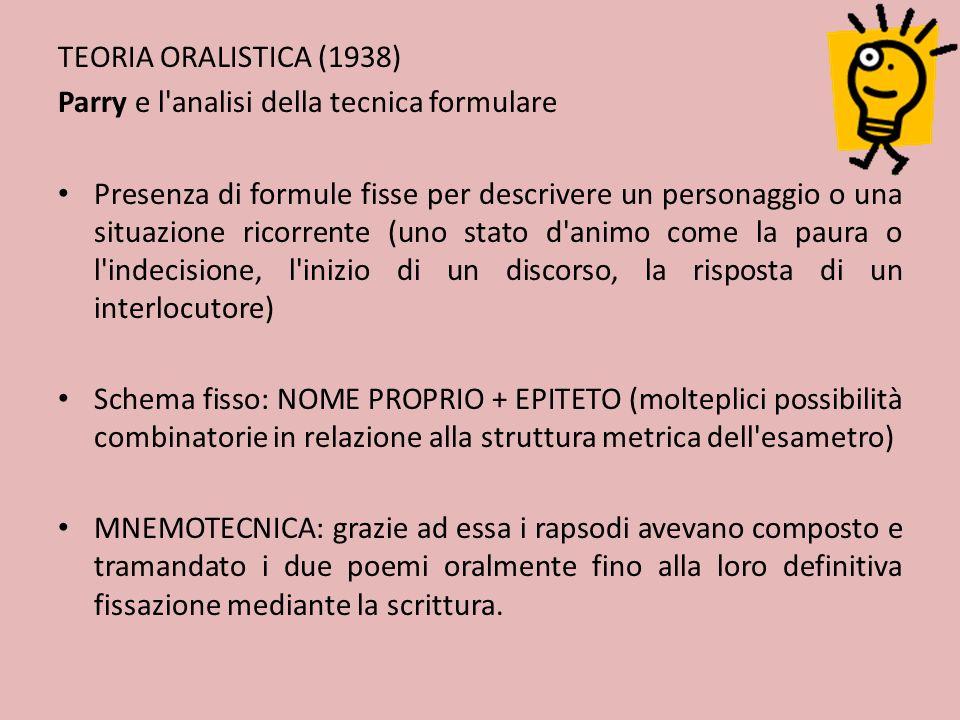 TEORIA ORALISTICA (1938) Parry e l analisi della tecnica formulare.