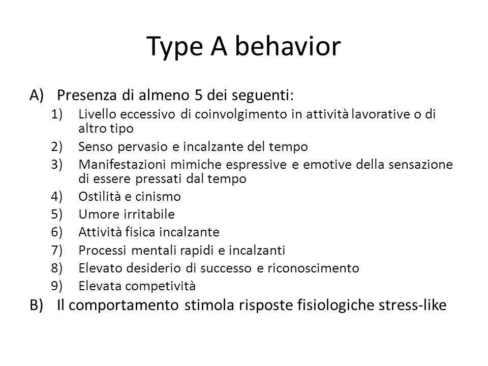 Type A behavior Presenza di almeno 5 dei seguenti: