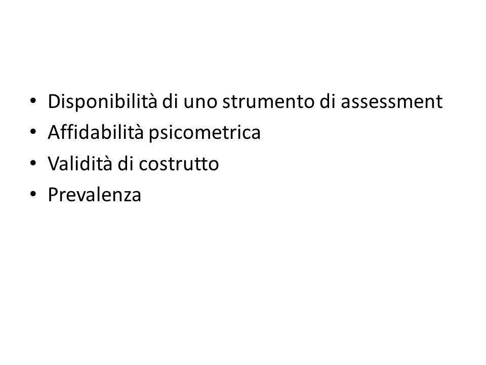 Disponibilità di uno strumento di assessment