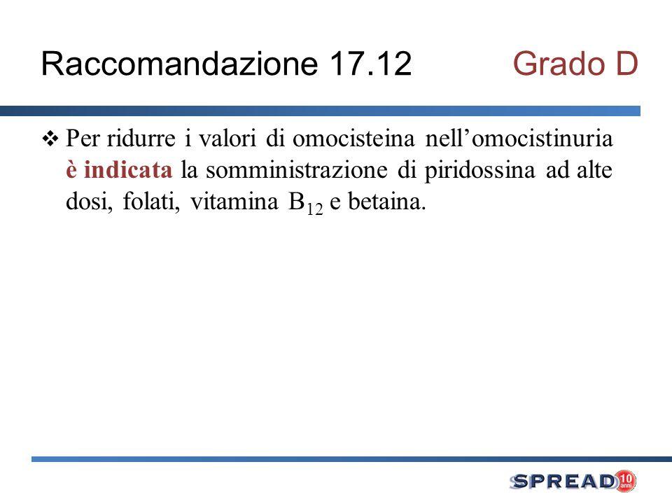 Raccomandazione 17.12 Grado D
