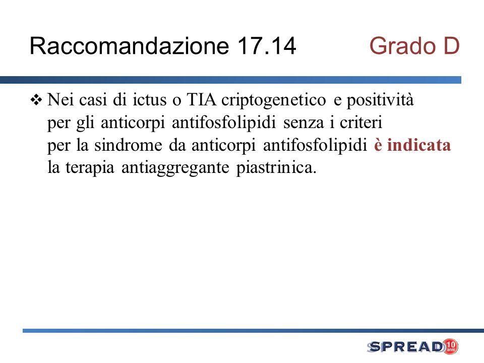 Raccomandazione 17.14 Grado D