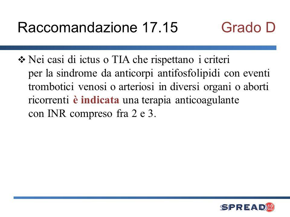 Raccomandazione 17.15 Grado D