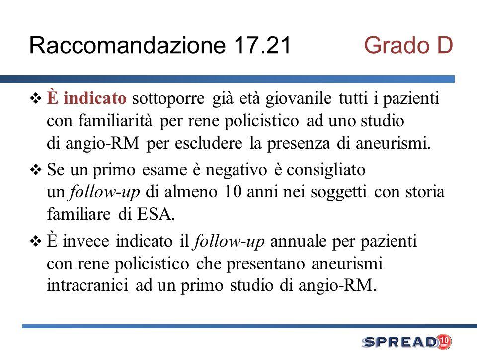Raccomandazione 17.21 Grado D